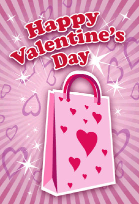 Shopping Bag Valentines Card valentine