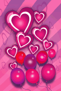 Hearts Balloons Stripes Valentines Card