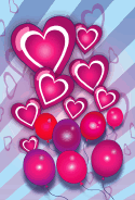 Hearts and Balloons Valentines Card