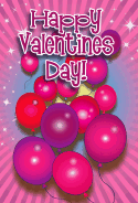 Pink Balloons Valentines Card