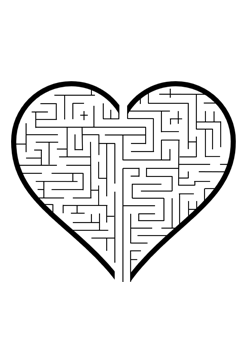 image about Printable Valentine Hearts called Center Maze Valentines Puzzle Printable Valentine